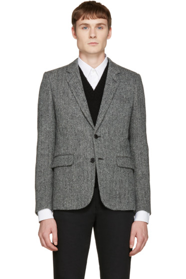 Saint Laurent - Black & White Wool Blazer