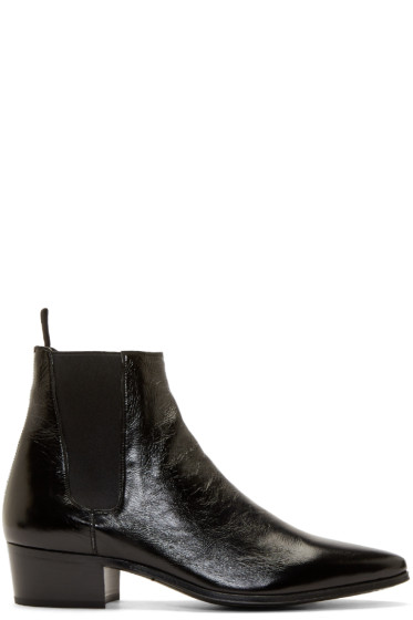 Saint Laurent - Black Leather French Boots