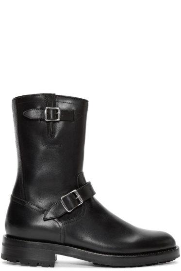 Saint Laurent - Black Leather Buckle Combat Boots