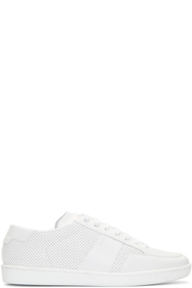 Saint Laurent - White Perforated Leather Sneakers