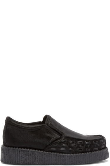 Underground - Black Calf-Hair Creeper Loafers