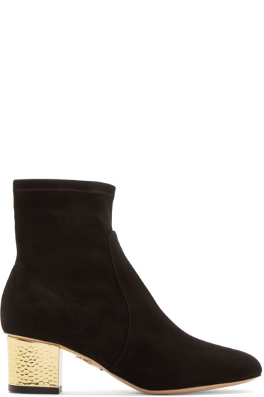 Charlotte Olympia - Black & Gold Suede Winnie Ankle Boots