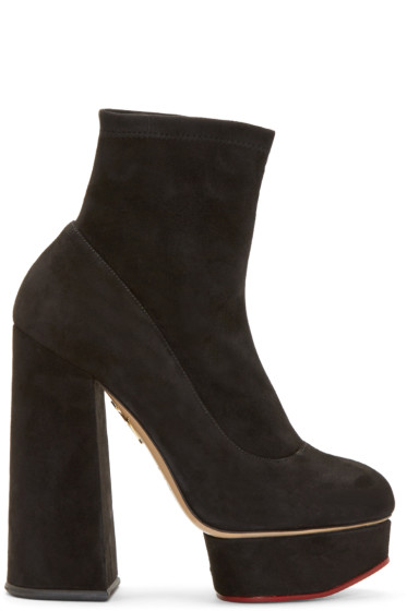 Charlotte Olympia - Black Suede Blanka Boots