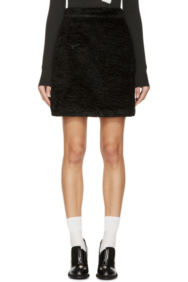 MSGM - Black Faux-Astrakhan Skirt