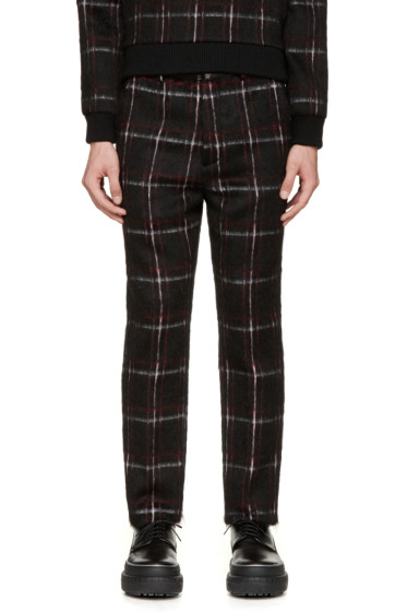 MSGM - Black & Red Plaid Mohair Trousers
