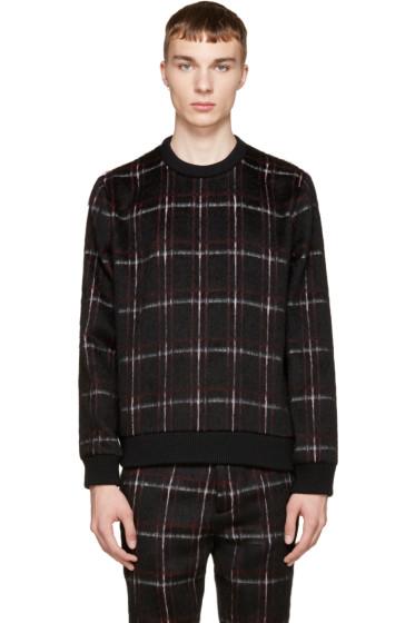 MSGM - Black & Red Mohair Plaid Sweater