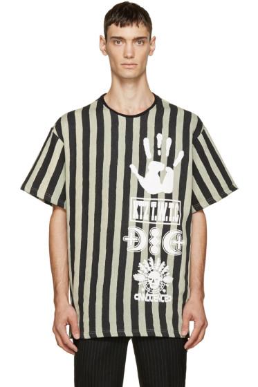 KTZ - Black & Beige Striped Logo T-Shirt