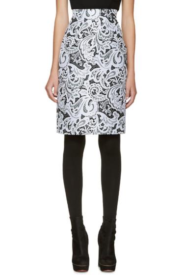 Mary Katrantzou - Black & Blue Lace Pencil Skirt