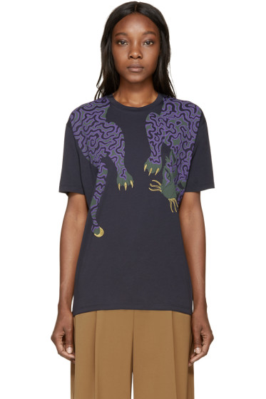 Stella McCartney - Navy Tiger Print T-Shirt