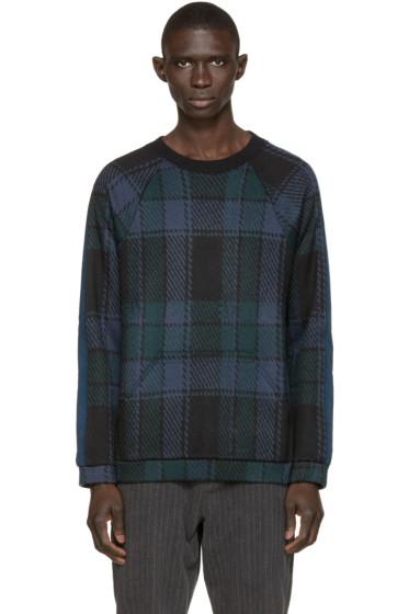 Umit Benan - Blue & Green Wool Check Sweater