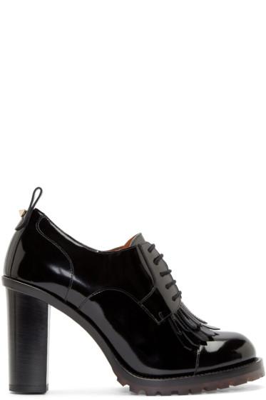 Valentino - Black Brushed Leather Formal Derbys