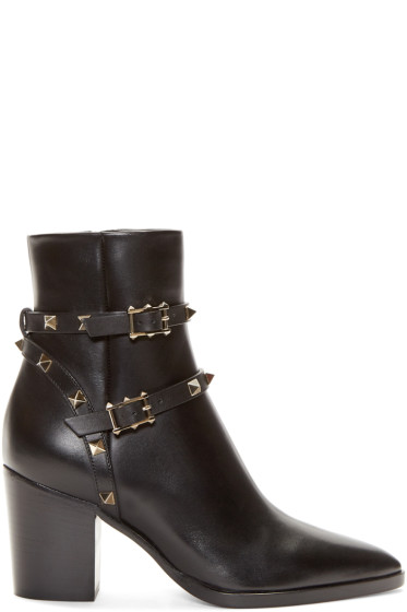 Valentino - Black Leather Rockstud Ankle Boots