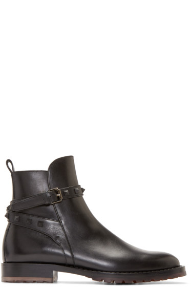 Valentino - Black Leather Rockstud Boots
