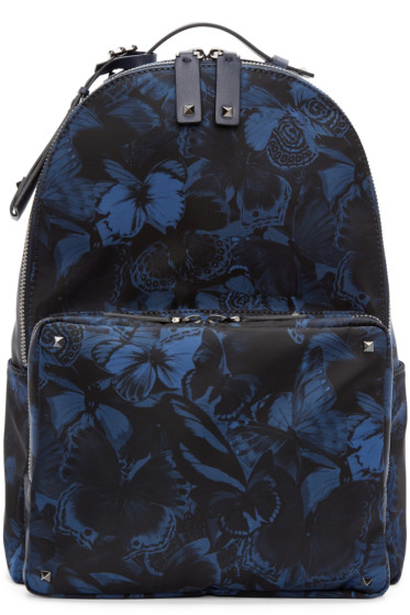 Valentino - Navy Butterfly Print Backpack