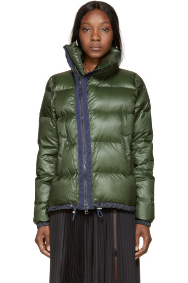 Sacai Luck - Green & Navy Down Stand Collar Jacket