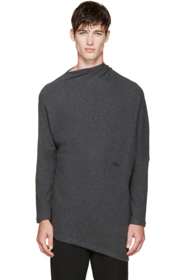 Thamanyah - Grey Draped Brushed Cotton T-Shirt