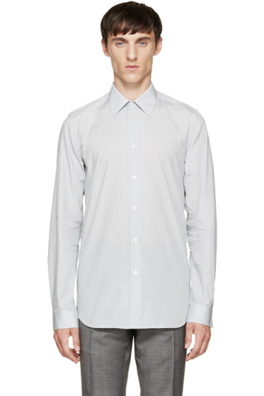 Paul Smith London - White & Navy Geometric Shirt