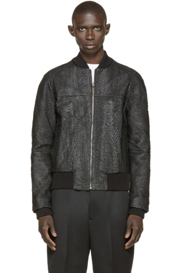 A.Sauvage - Black Faux Fish Skin Bomber