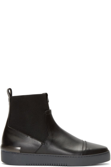 Calvin Klein Collection - Black Leather & Textile Gomma Boots