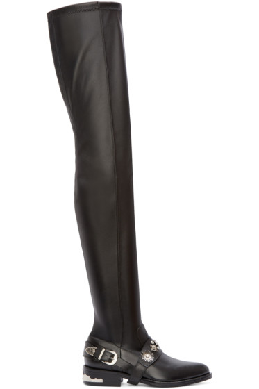Toga Pulla - Black Leather Over-the-Knee Harness Boots