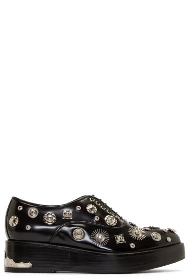 Toga Pulla - Black Leather Embellished Oxfords