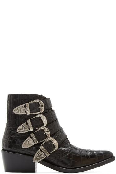Toga Pulla - Black Croc-Embossed Western Boots
