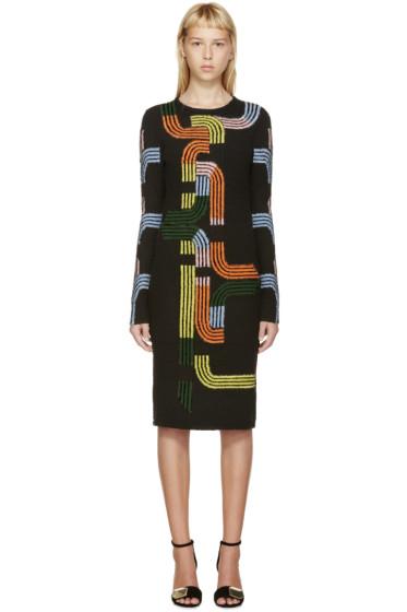 Peter Pilotto - Black & Multicolor Track Sweater Dress
