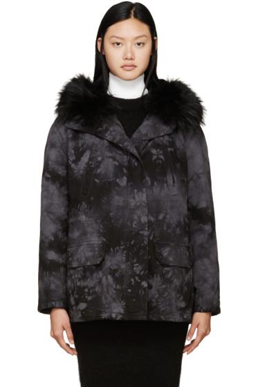 Army by Yves Salomon - Black & Grey Tie-Dye Fur-Lined Parka