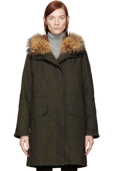 Army by Yves Salomon - Green Fur Lined Parka