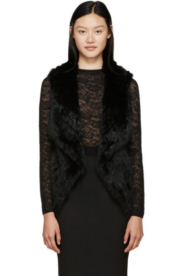 Meteo by Yves Salomon - Black Knit Fur Vest