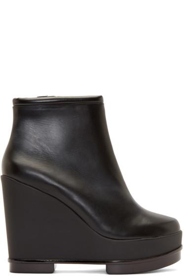 Robert Clergerie - Black Leather Sarlaj Wedge Boots