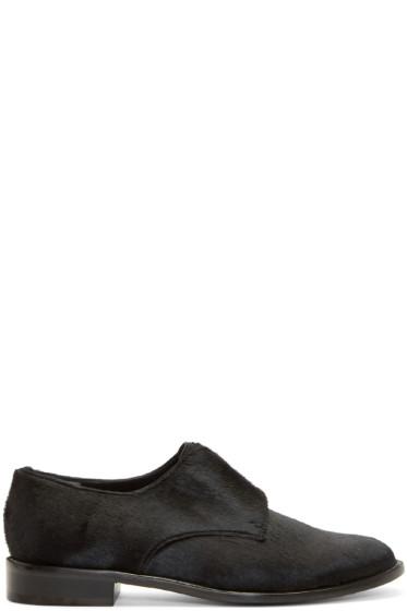 Robert Clergerie - Black Calf-Hair Slip-On Oxfords