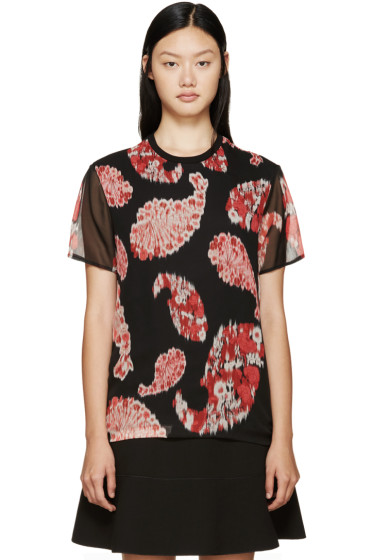 Giambattista Valli - Black & Red Printed Silk T-Shirt