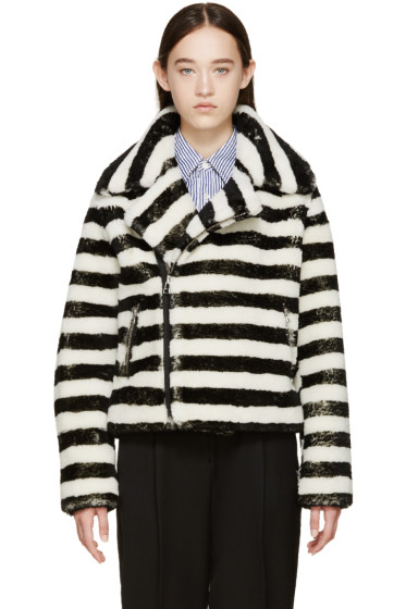 Each x Other - Black & Off-White Striped Shearling Jacket
