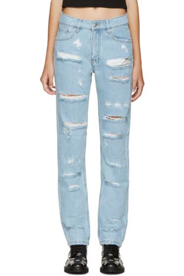 Filles a Papa - Blue Distress Boyfriend Jeans