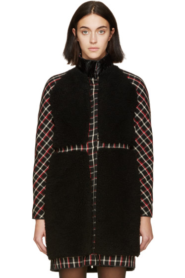 Moncler Gamme Rouge - Black & Red Tartan Shearling Coat