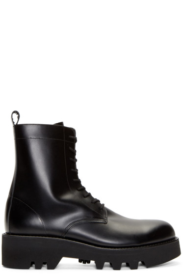 Lad Musician - Black Leather Zipped Combat Boots