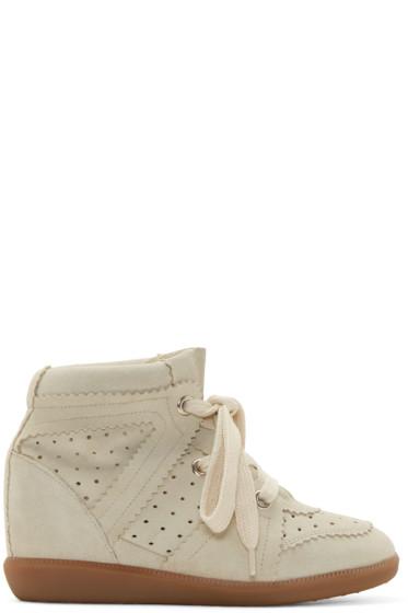 Isabel Marant - Cream Bobby Wedge Sneakers