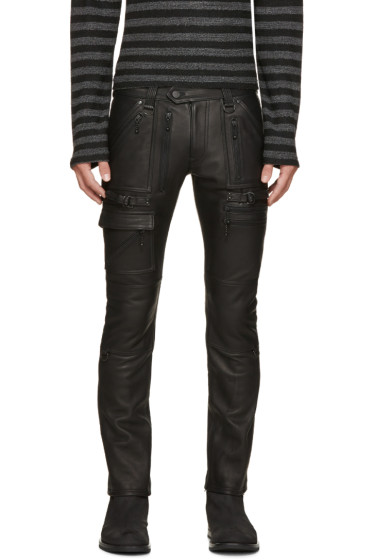 Blackmeans - Black Leather Biker Pants