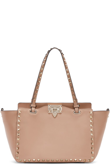 designer purse sale zn4e  Valentino Pink Leather Small Rockstud Tote