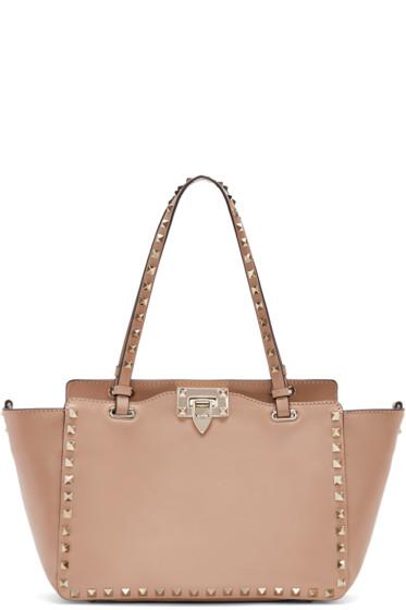 designer purse sale zn4e  Valentino Pink Leather Small Rockstud Tote