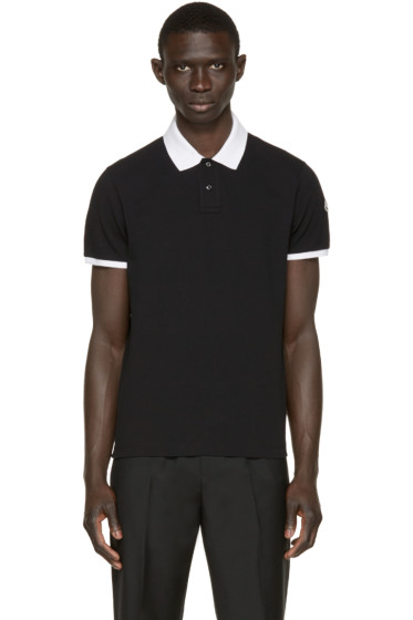 Moncler - Black Contrast Collar Polo