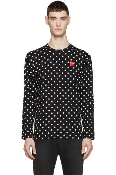 Comme des Garçons Play - Black Polka Dot Heart Patch T-Shirt