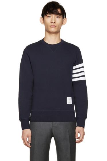 Thom Browne - Navy Striped Armband Sweatshirt