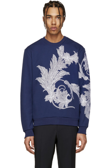 Versace - Blue & White Embroidered Leaf Pullover