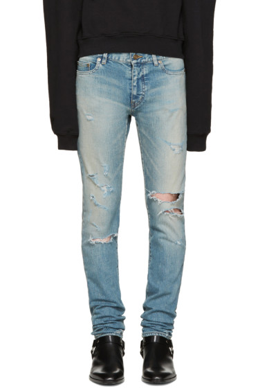 Saint Laurent - Blue Skinny Destroyed Jeans