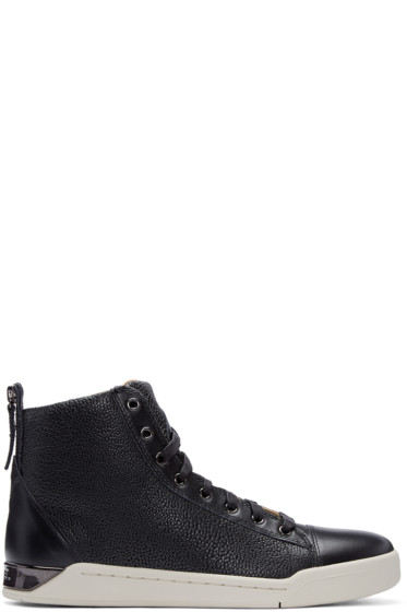Diesel - Black Pebbled Diamond High-Top Sneakers