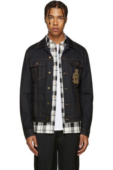 Dolce & Gabbana - Blue Denim Beaded Crest Jacket