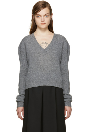 McQ Alexander Mcqueen - Grey Wool Cropped Sweater