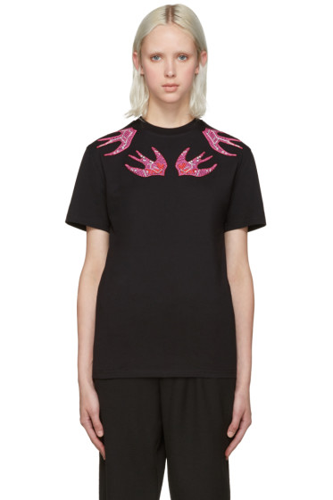 McQ Alexander Mcqueen - Black Embroidered Swallows T-Shirt